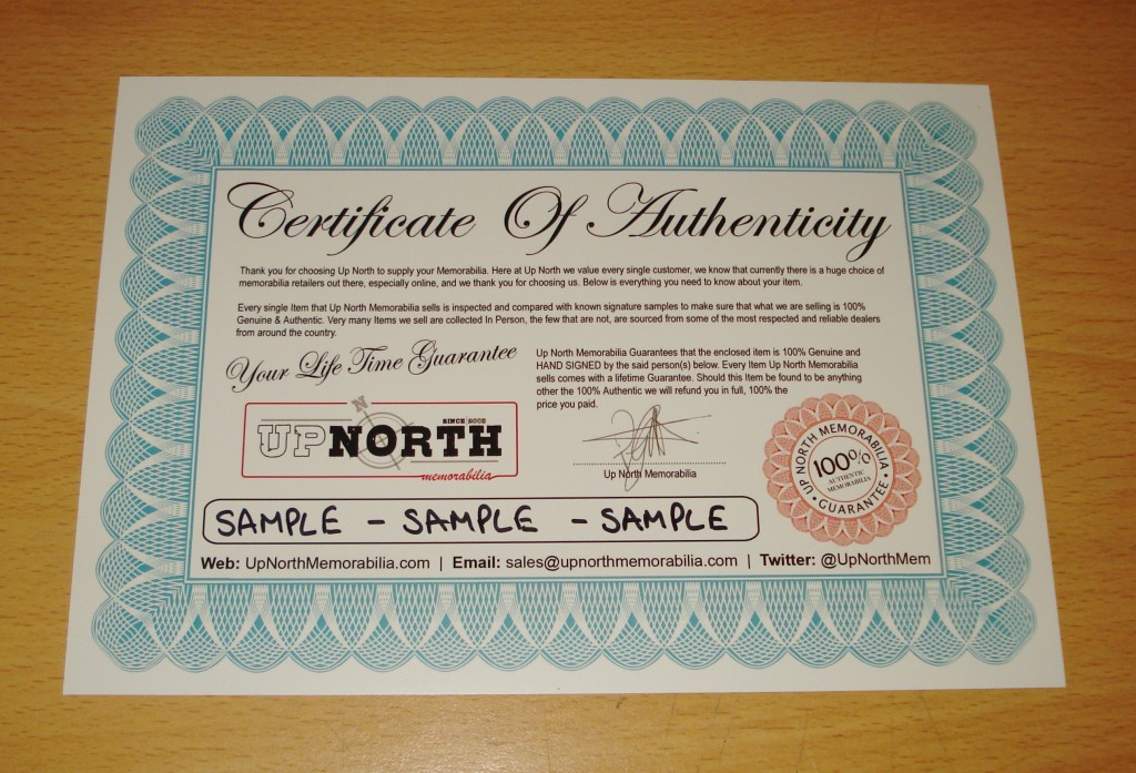 Up North Memorabili Certificate of Authenticity