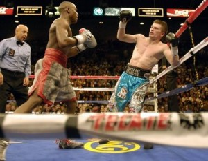 Mayweather downs Hatton